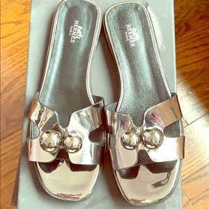 Shoes - Silver metallic leather sandals